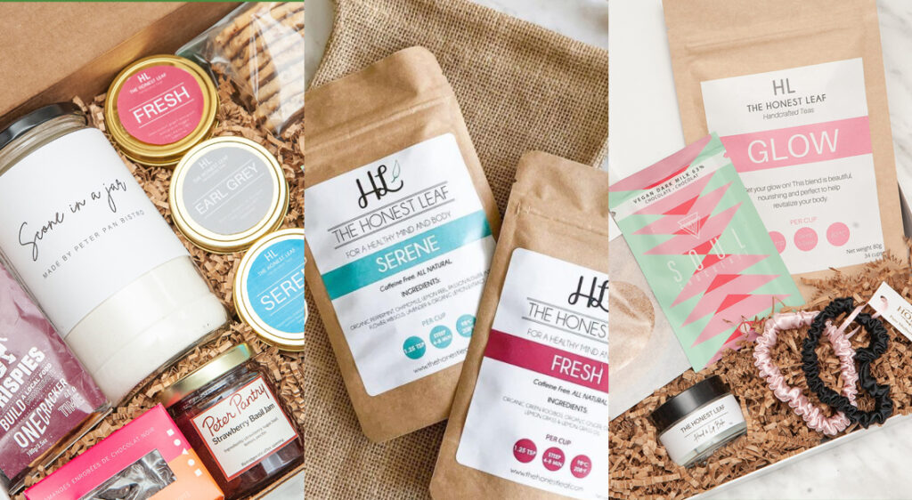Three photographs of Honest Leaf products including the high-tea set pictured in a box. Set includes a candle, loose leaf teas, cookied, jams, and other goodies. Second image shows two loose leaf tea bags and the third image shows a self-care tea set in a box that mixes tea with lotions, hair ties, and other products.